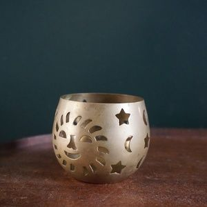 vtg 70s brass candle tea light holder